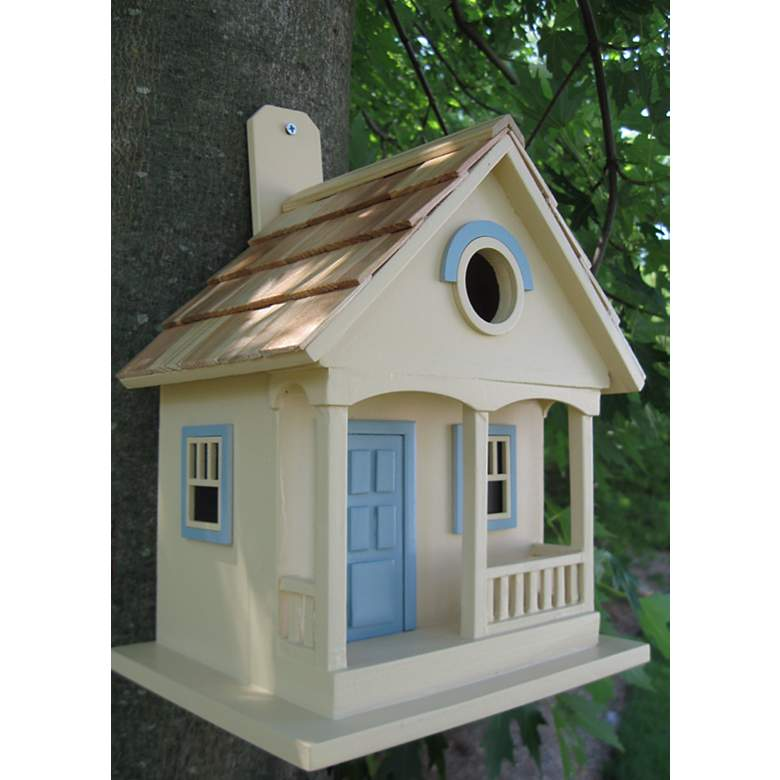 "Pacific Grove 10"" High Cottage Nesting Bird House in scene"