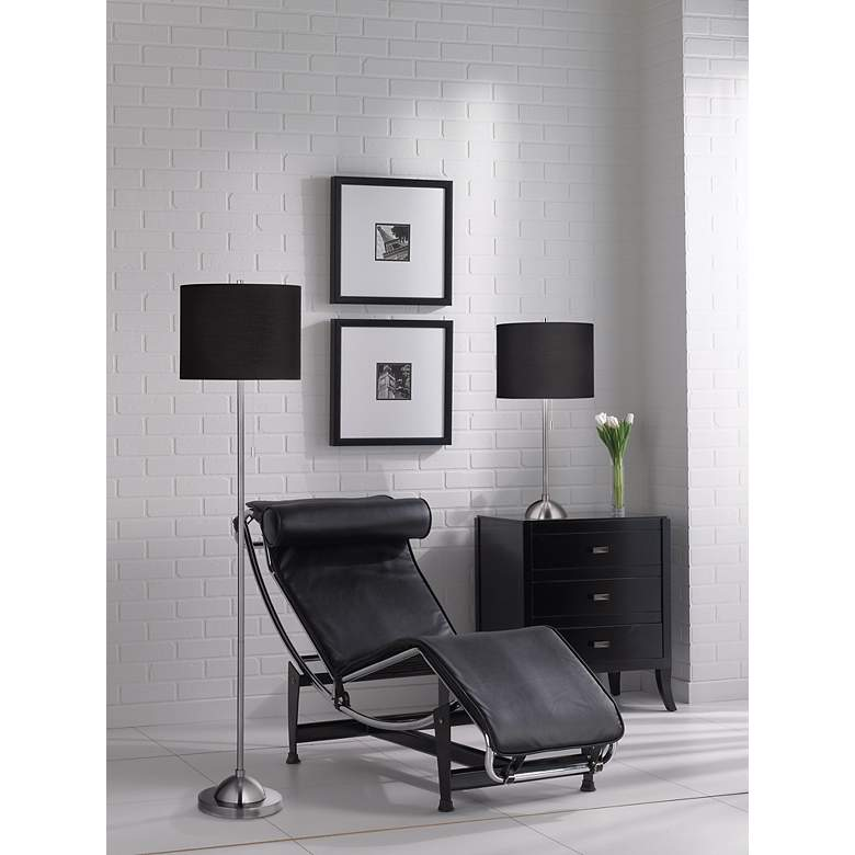 Black Canvas  Shade Table Lamp in scene
