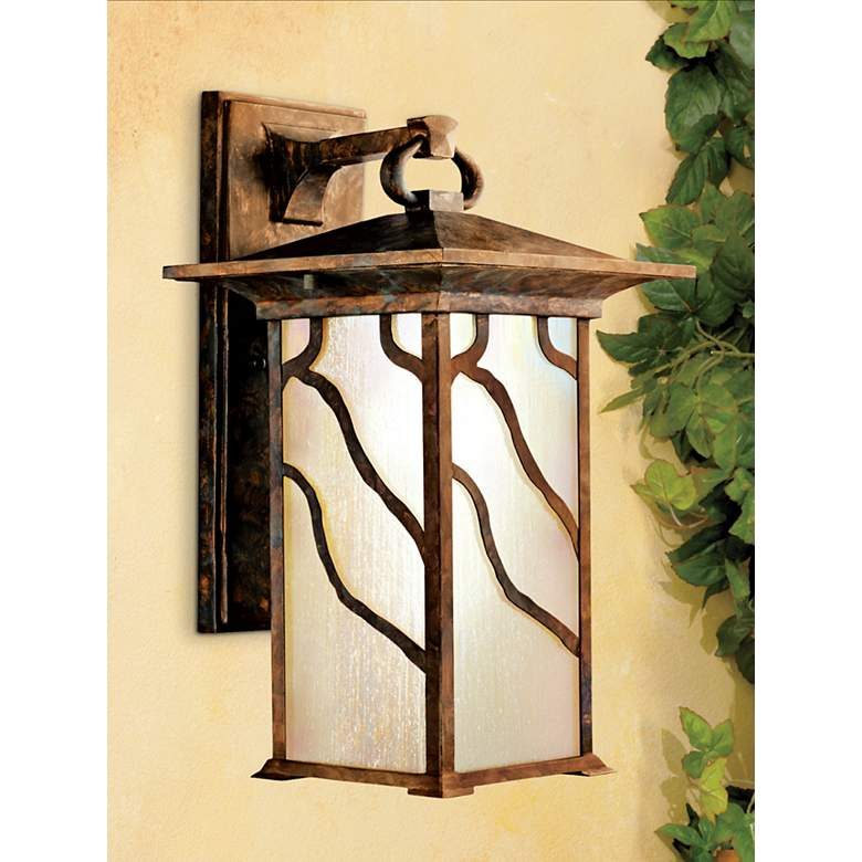 "Iridized Seedy Glass 15"" High Outdoor Wall Lantern in scene"
