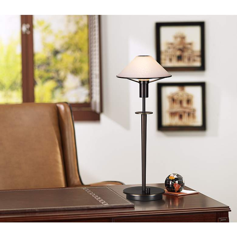 Holtkoetter White Glass Shade Olde Bronze Halogen Desk