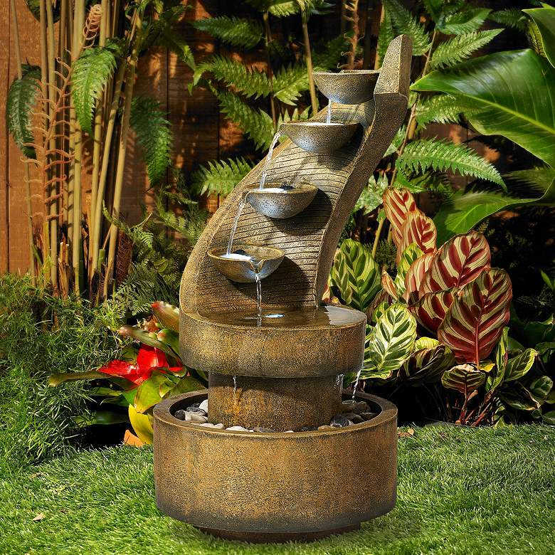 "Cascading 39 1/2"" High Modern Zen Fountain with LED Lights in scene"