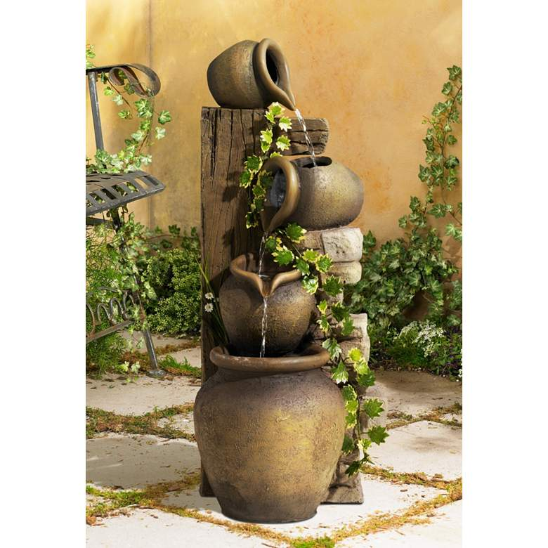 "Cascading 33"" High Three Jugs Rustic Fountain in scene"