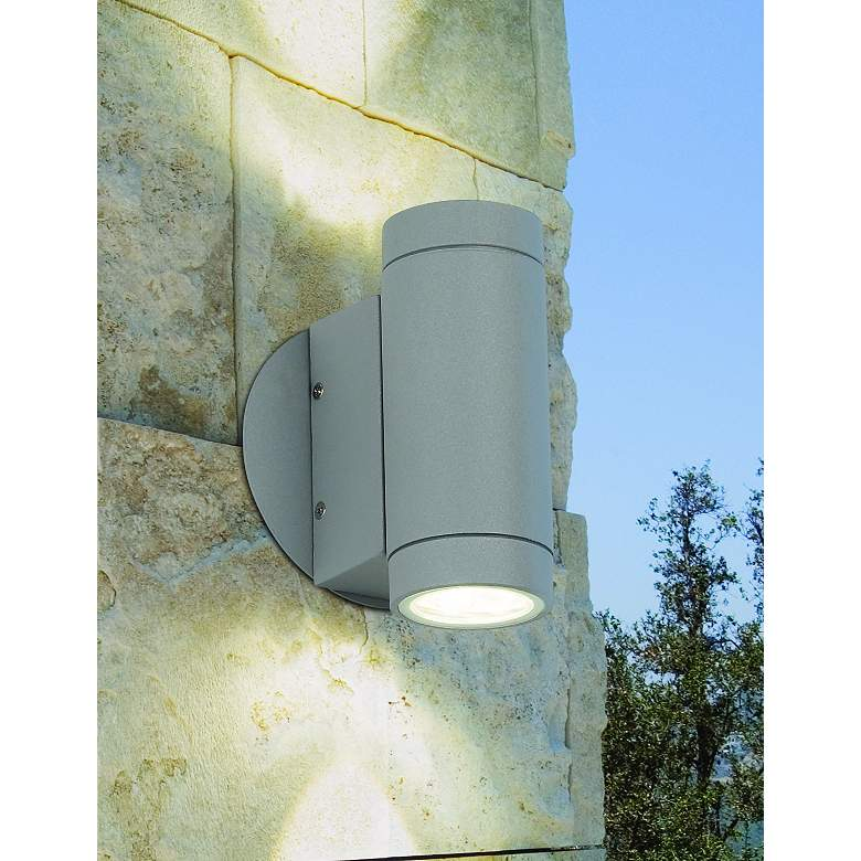 Possini Euro Matte Silver Outdoor LED Up and Down Wall Light in scene