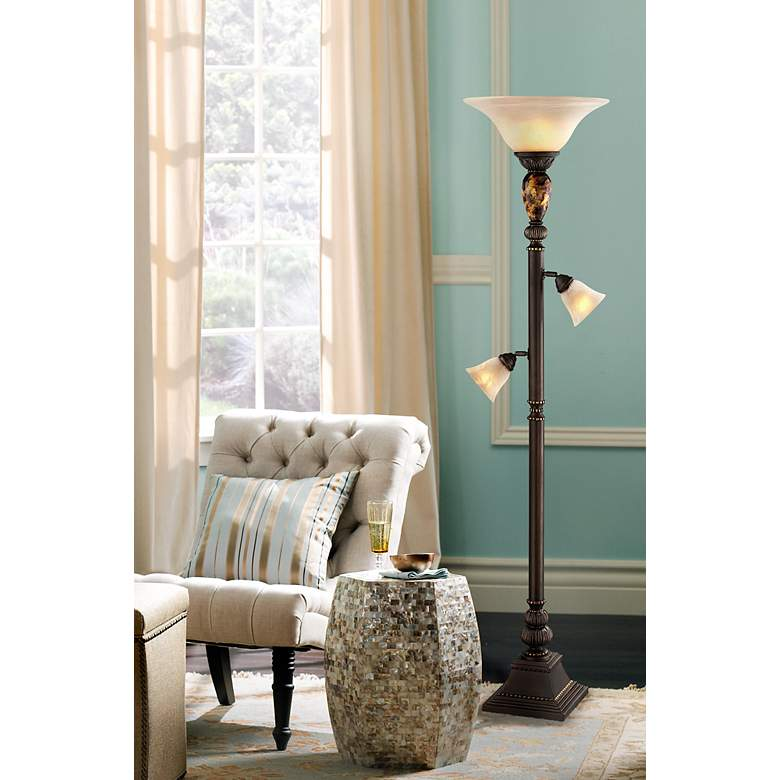 "Kathy Ireland Mulholland 72"" HIgh Tree Torchiere Floor Lamp in scene"