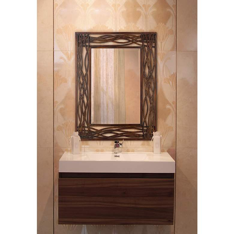 "Uttermost Dorigrass Mocha Brown 32"" x 42"" Wall Mirror in scene"