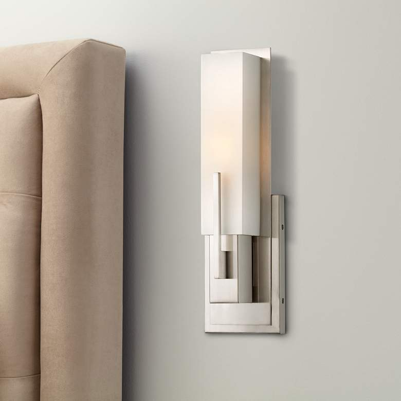 "Possini Euro Midtown 15"" High Satin Nickel Wall Sconce in scene"