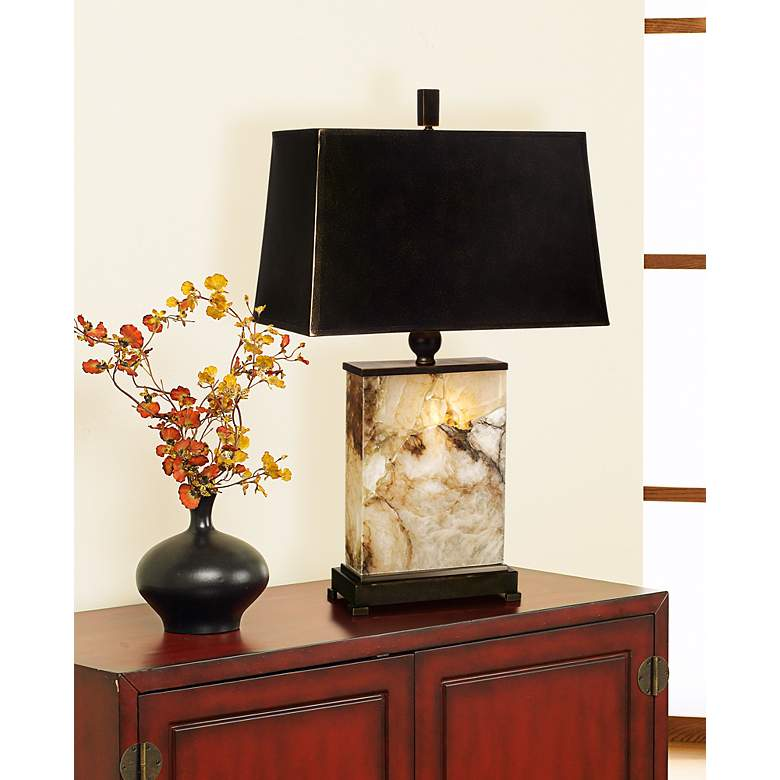 Marius Marble Night Light Table Lamp in scene