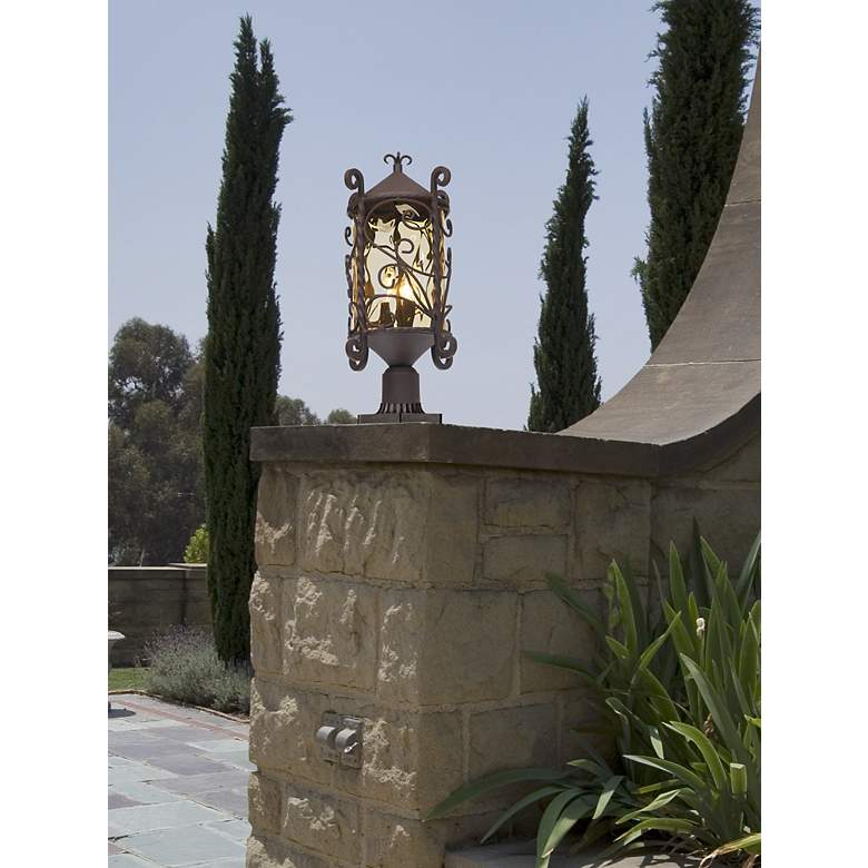 "Casa Seville 23 1/2"" High Iron Scroll Outdoor Post Light in scene"