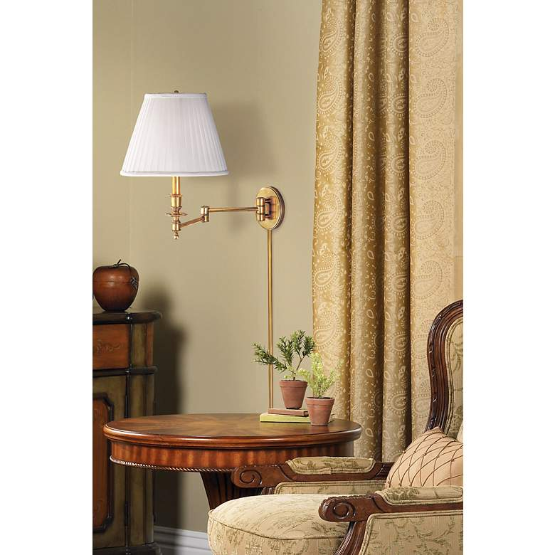 Newport Aged Brass Faux Silk Plug-in Swingarm Wall