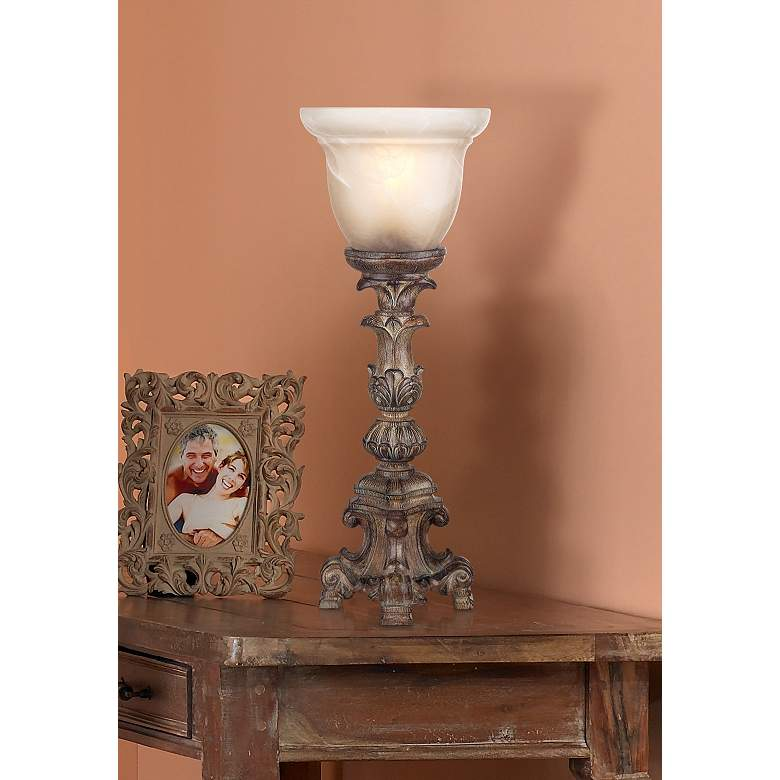 "French Candlestick Beige Wash 18"" High Accent Console Lamp in scene"
