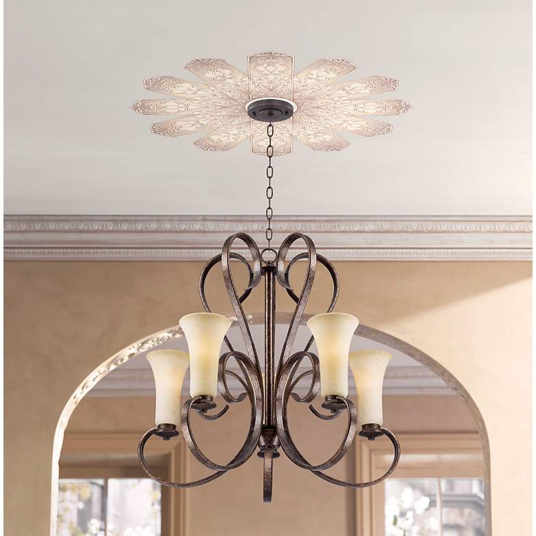 "Verona Mist 26"" Wide Repositionable Ceiling Medallion in scene"