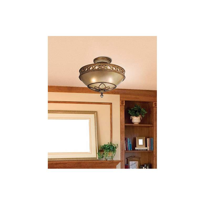 "Minka Aston Court Bronze 15 3/4"" Wide Ceiling Light Fixture in scene"