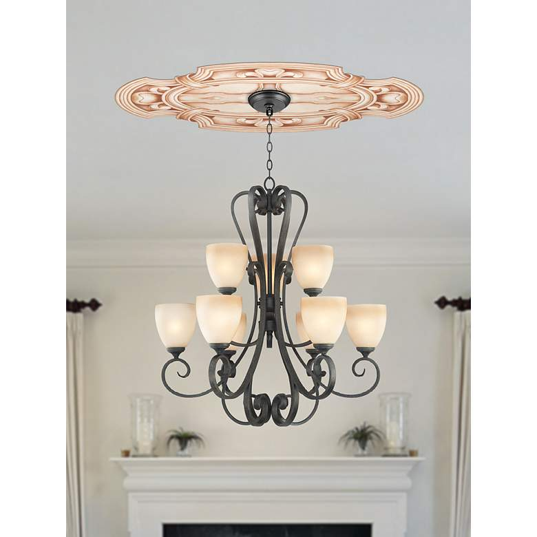 "Gilles Square 36"" Wide Repositionable Ceiling Medallion in scene"