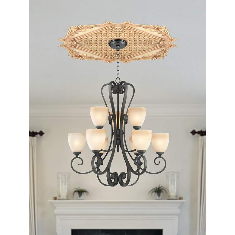 "Essex Square 24"" Wide Repositionable Ceiling Medallion in scene"