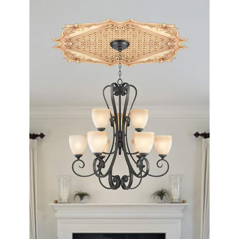 "Essex Square 36"" Wide Repositionable Ceiling Medallion in scene"
