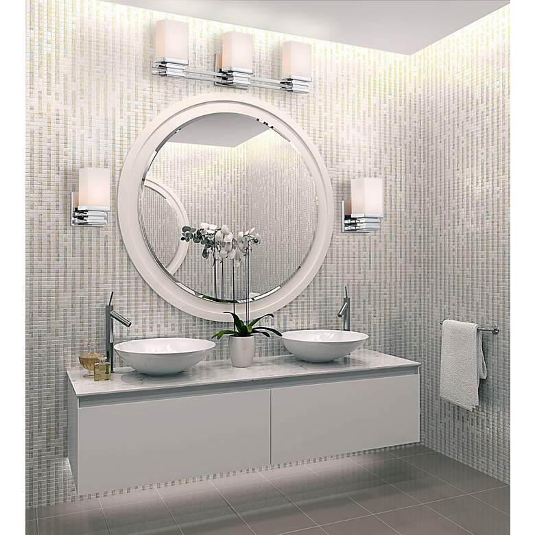 "Bennett Collection Chrome 22"" Wide Bathroom Wall Light in scene"