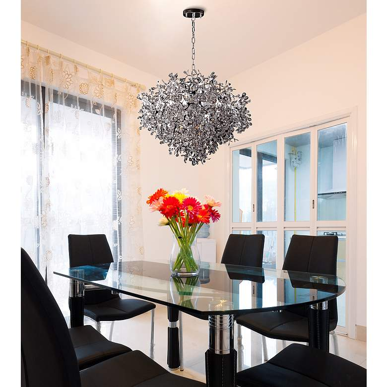 "Maxim Comet 35"" Wide Chrome and Crystal Chandelier in scene"