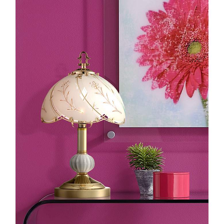 "Polished Brass 15"" High Touch On-Off Accent Table Lamp in scene"