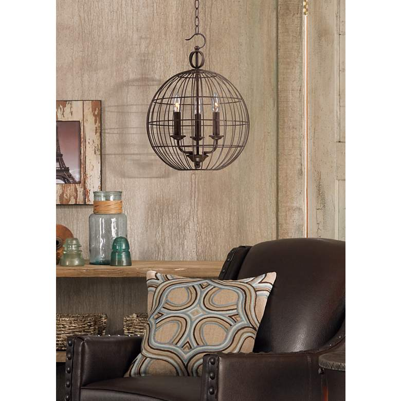 "Industrial Candelabra 3-Light 15"" Wide Cage Pendant Light in scene"