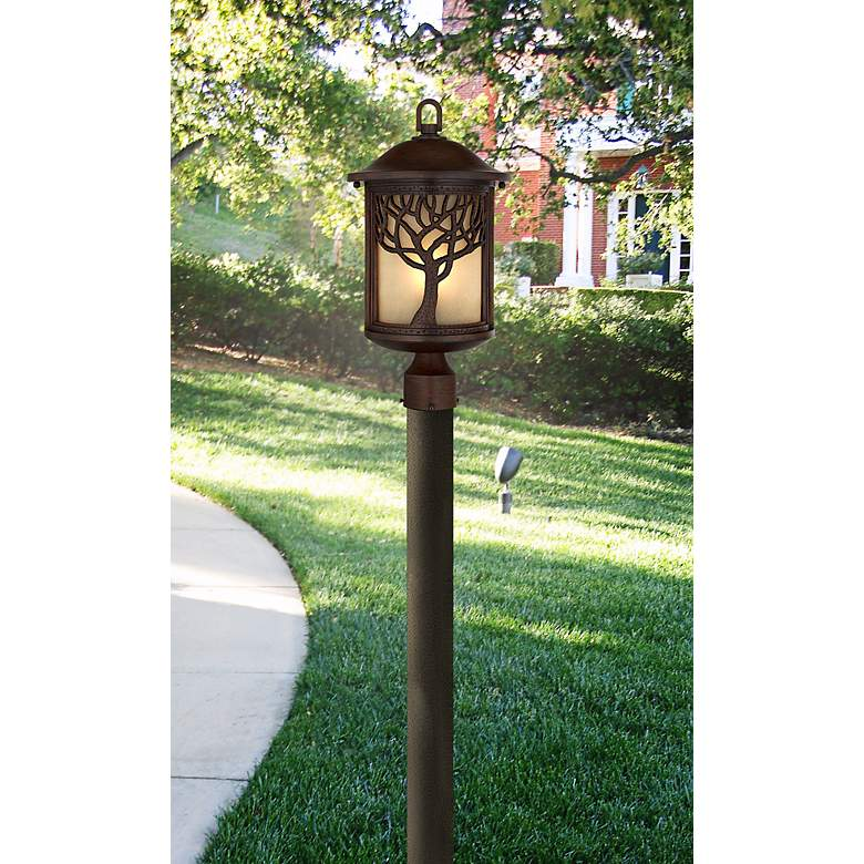 "Mission Style Oak Tree 18 3/4"" High Bronze Finish Post Light in scene"