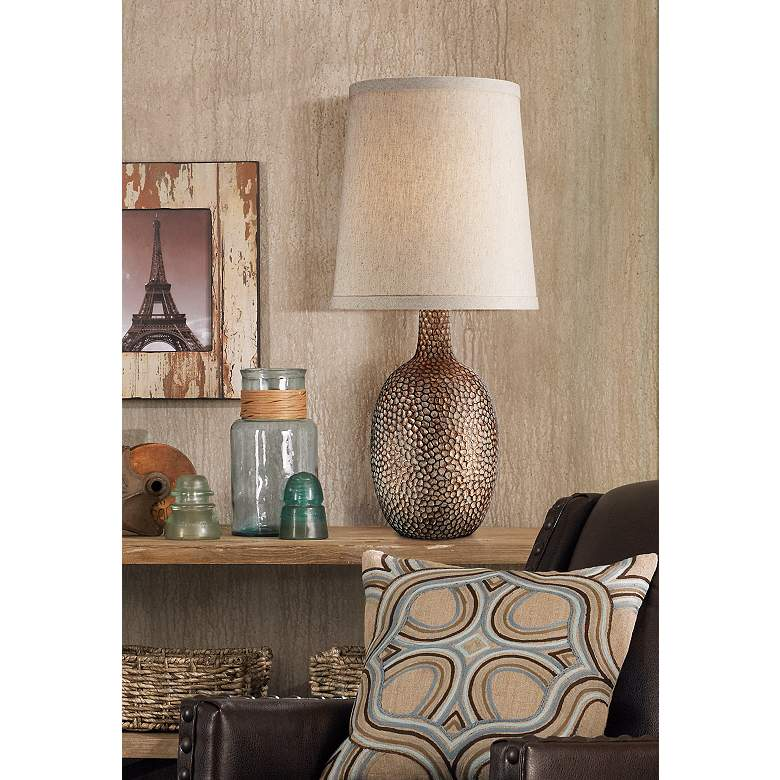 Chalane Hammered Antique Bronze Table Lamp in scene
