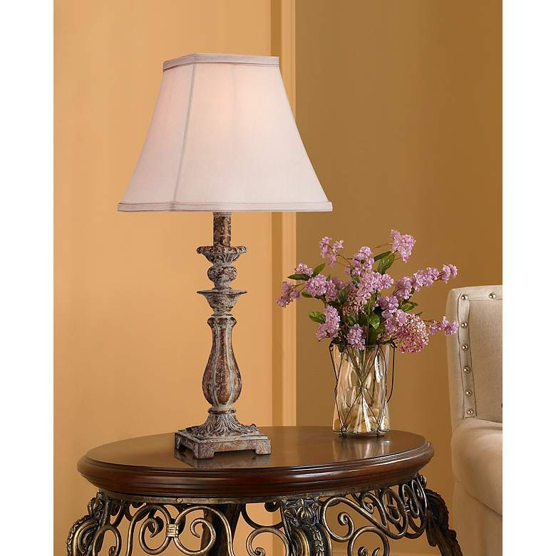"Alicia 18"" High Antique Gold Candlestick Table Lamp in scene"