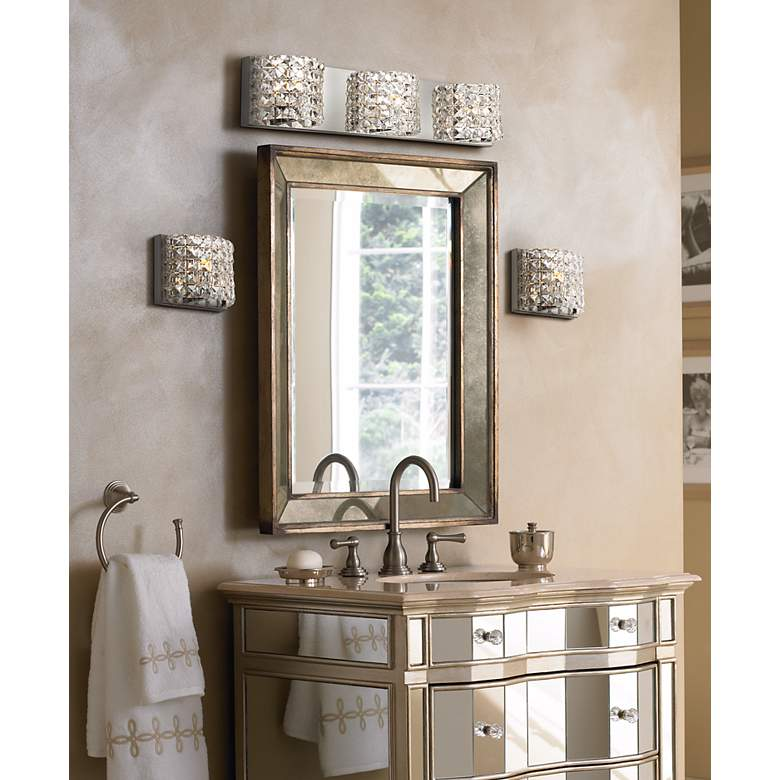 "Cesenna 25 1/2"" Wide Crystal 3-Light Bath Vanity Light in scene"
