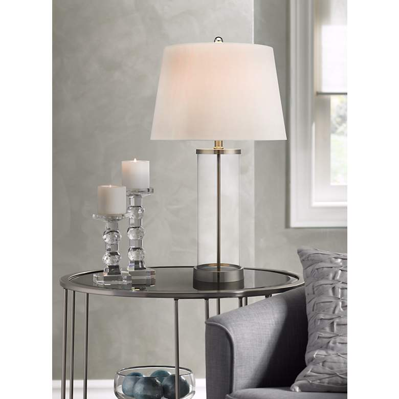 Glass and Steel Cylinder Fillable Table Lamp in scene