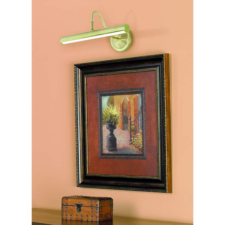 "Renaissance 16"" Wide Brass LED Picture Light in scene"