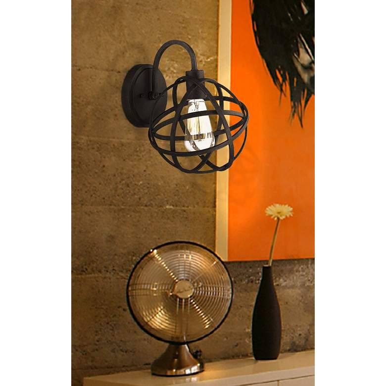 "Industrial Atom 11"" High Edison Bronze Wall Sconce in scene"