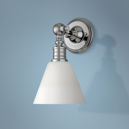 "Darien Polished Nickel and Opal 14"" High Wall Sconce"