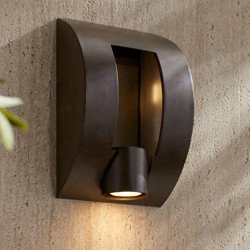 """Framed Slate 12"""" High Bronze 3-Light Outdoor Wall Light"""