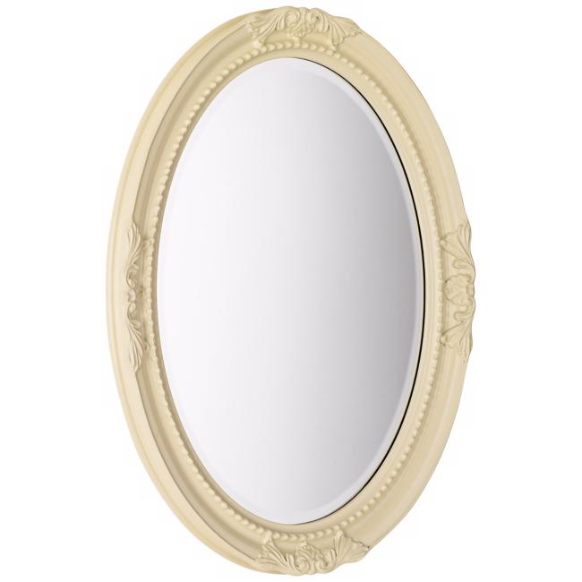 "Emma Glossy White 25"" x 33"" Oval Wall Mirror"
