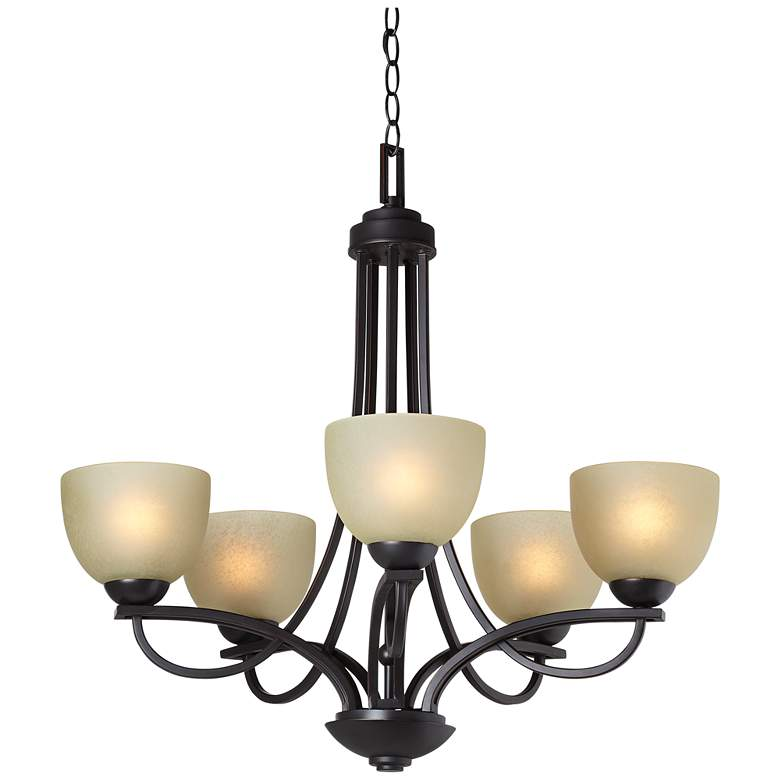 "Bennington 26"" Wide 5-Light Italian Bronze Chandelier more views"