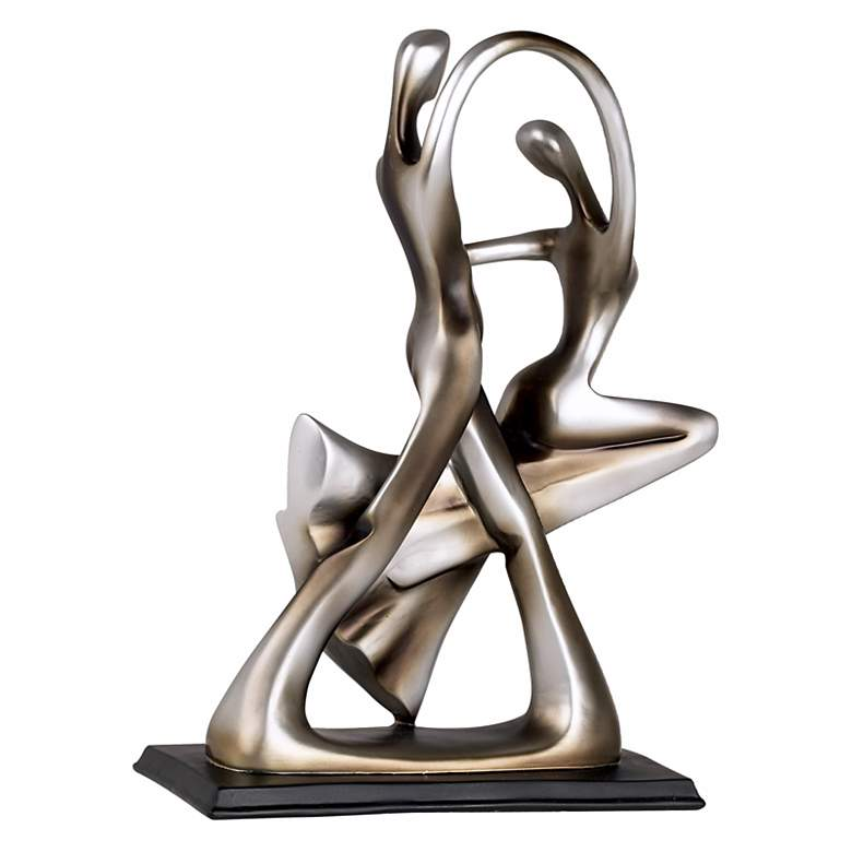 "Silver Abstract 14 3/4"" High Dancing Couple Sculpture more views"