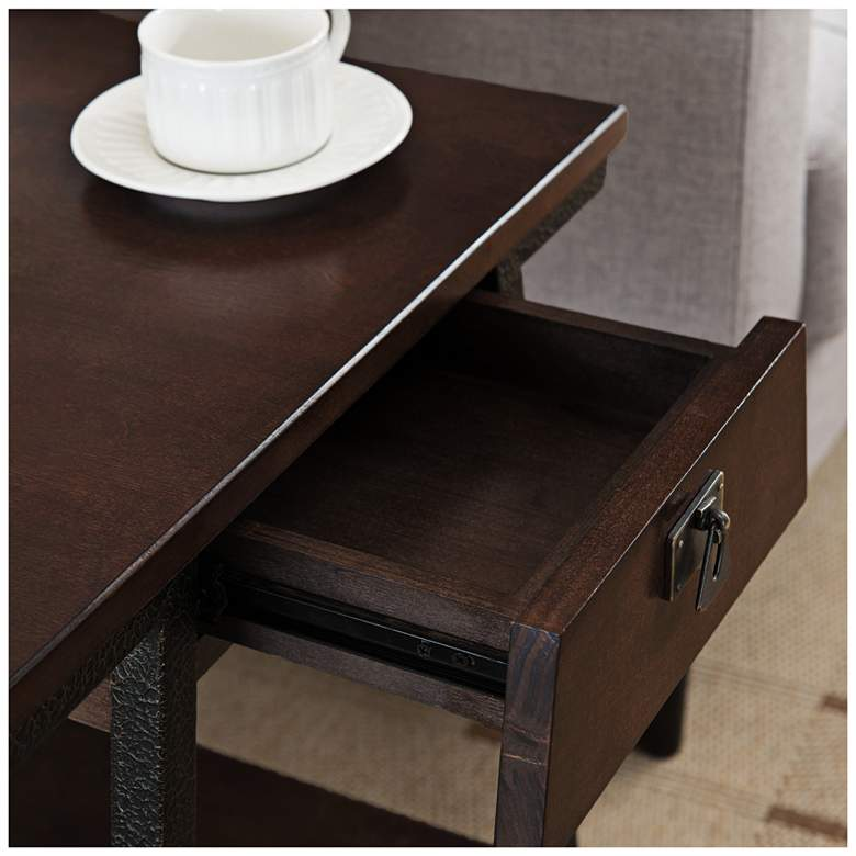 "Empiria 24"" Wide Hand-Finished Walnut 1-Drawer End Table more views"