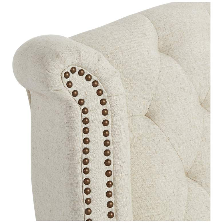Williamsburg Natural Linen Tufted Wingback Armchair more views