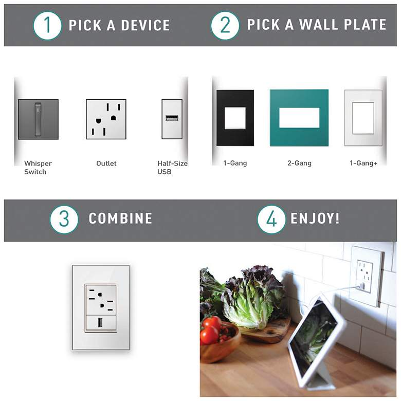 adorne® Powder White 4-Gang Snap-On Wall Plate more views