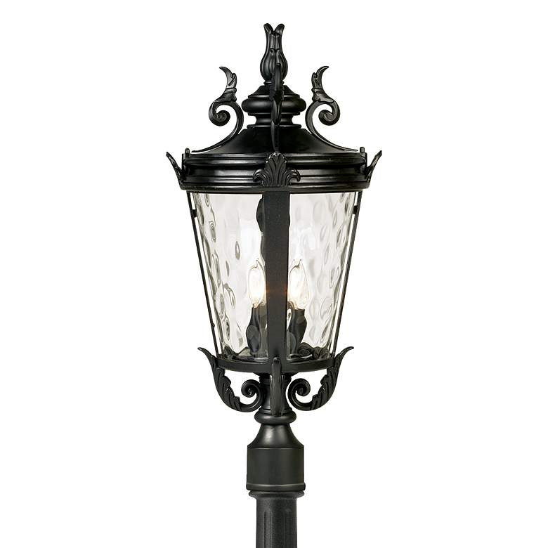 "Casa Marseille 99 3/4""H Black Post Light with Flat Base Pole more views"