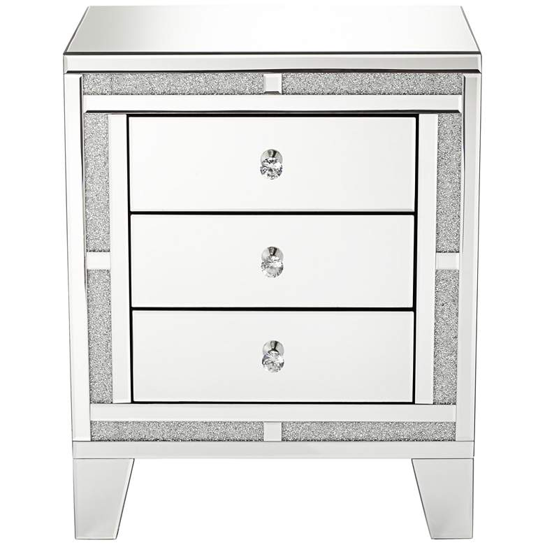 "Aretha 22"" Wide Crystal Beads 3-Drawer Mirrored Side Table more views"