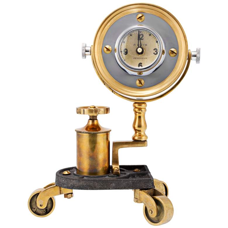 "Gizmo 10"" High Antique Brass Pivot Retro Table Clock more views"