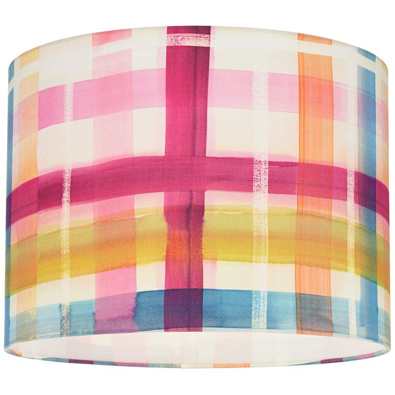 Multi-Color Plaid Drum Lamp Shade 15x15x11 (Spider) more views
