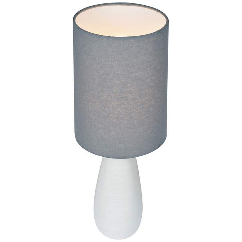 "Quatro 17""H White Modern Accent Table Lamp with Gray Shade more views"