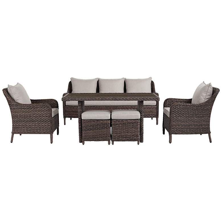 Woodlake Brown Wicker 6-Piece Outdoor Seating Set more views