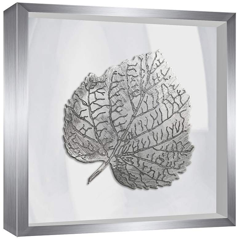 "Leaf in Silver 16"" Square Framed Wall Art more views"