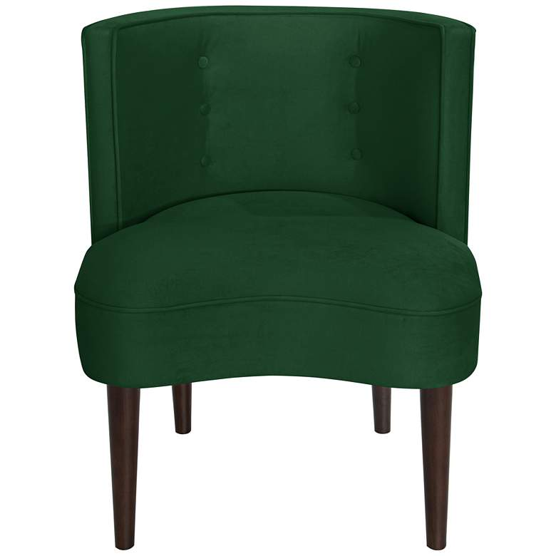 Curve Ball Fauxmo Emerald Green Fabric Armless Accent Chair more views