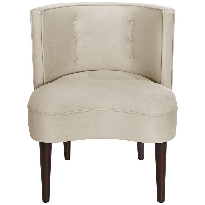 Curve Ball Regal Antique White Fabric Armless Accent Chair more views