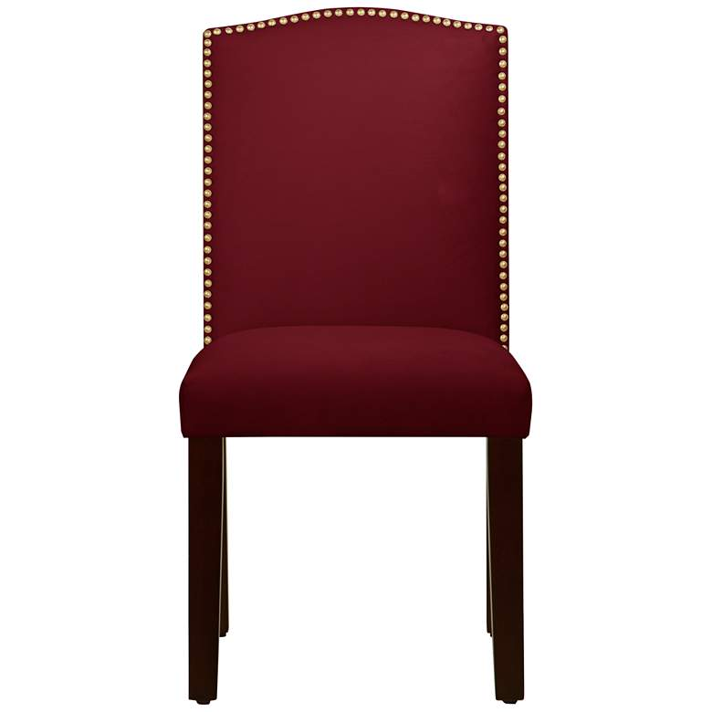 Calistoga Velvet Red Berry Fabric Arched Dining Chair more views