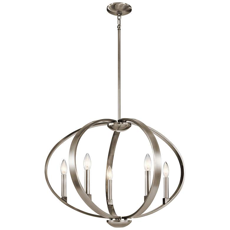 "Kichler Elata 27""W Classic Pewter 5-Light Orbital Chandelier more views"