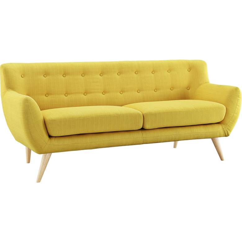 "Remark Sunny 74"" Wide Fabric Tufted Sofa more views"